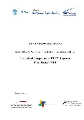 Analysis of Integration of  ERTMS system Final Report WP3 - ERA