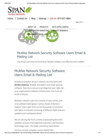 Email list of McAfee network software customers is a robust B2B data marketing service