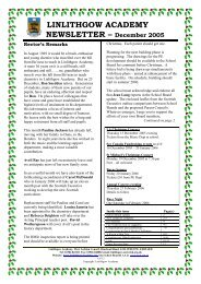 LINLITHGOW ACADEMY NEWSLETTER –December 2005