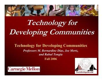 Technology for Developing Communities - TechBridgeWorld