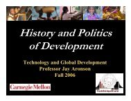 History and politics of development - TechBridgeWorld