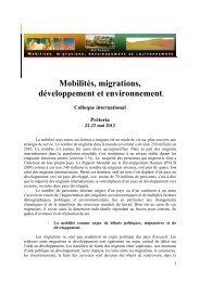 Mobilités, migrations, développement et environnement - Réseau ...