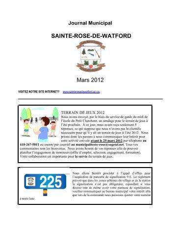 SAINTE-ROSE-DE-WATFORD Mars 2012 - Municipalité de Sainte ...