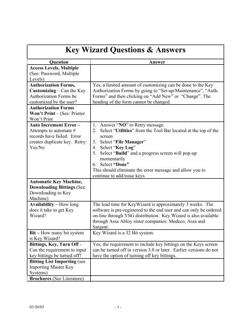 Key Wizard Questions & Answers - ASSA ABLOY Door Security