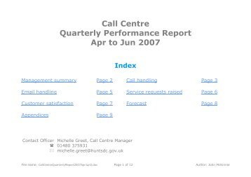Call Centre Quarterly Performance Report Apr to Jun 2007