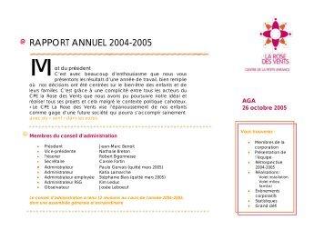 Rapport annuel 2004-2005 - CPE La Rose des Vents