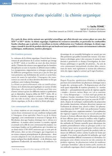 L'émergence d'une spécialité : la chimie organique - Espace culture ...