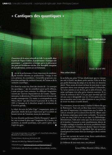 « Cantiques des quantiques » - Espace culture de l'université de ...