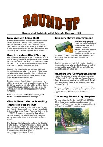 Bulletin for Mar-Apr-08 - Sertoma Club of Fort Worth