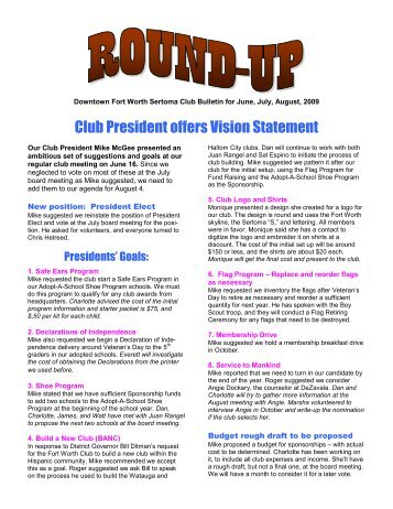 Club President offers Vision Statement - Sertoma Club of Fort Worth