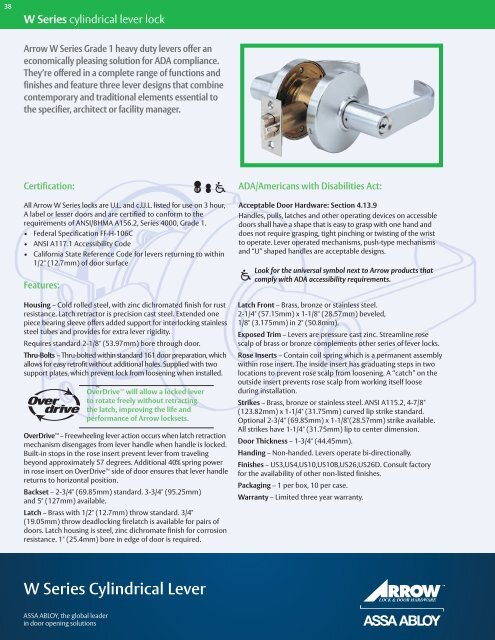 Arrow Lock RL-Series Standard Cold Rolled Steel Satin Chromium Plated Storeroom Schlage C Keyway Cylindrical Lock with Sierra SR Lever Pack of 1 1-3//4 Door Thickness 1-3//4 Door Thickness Pack of 1 RL12SR 26D CS