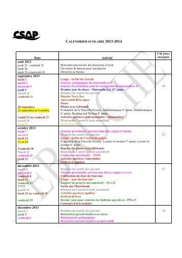 Calendrier scolaire 2013-14