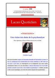 LQ 200 - Lacan Quotidien