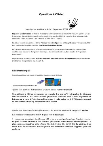 Questions à Olivier / N° 1 - 69 Nord