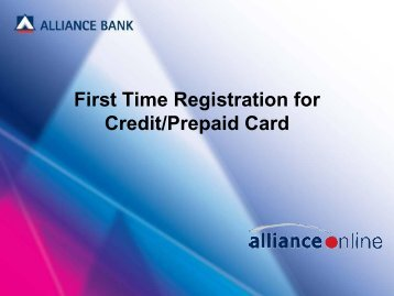 First Time Registration for Credit/Prepaid Card