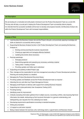 Job Description Business Analyst - Malta Information Technology ...