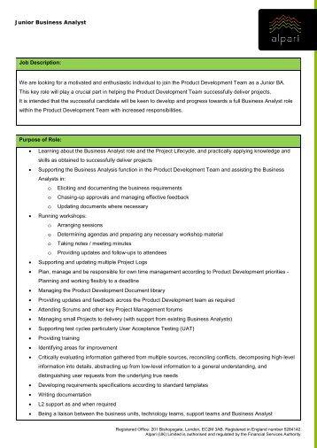 Job Description  Senior Business Analyst