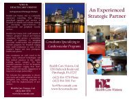 An Experienced Strategic Partner - Health Care Visions, Ltd.