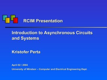 VLSI Presentation - Introduction To Asynchronous Circuits