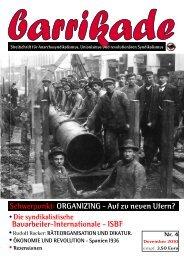 barrikade # 4 ORGANIZING - Auf zu neuen Ufern? Bauarbeiter-Internationale - ISBF