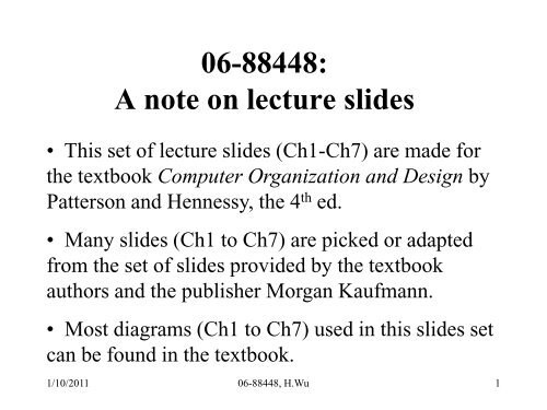 Lecture Slides For Digital Computer Architecture Based On The