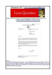 LQ 65 - Lacan Quotidien