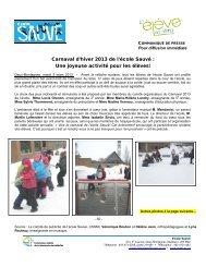 Carnaval d'hiver 2013 de l'école Sauvé : Une joyeuse activité pour ...