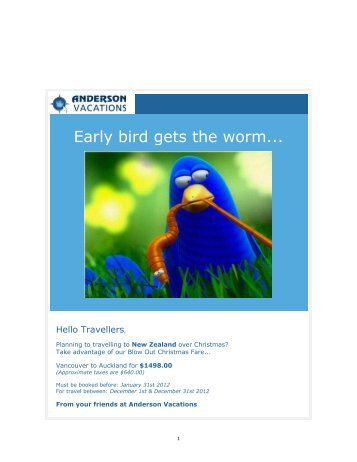 Early Bird...Air to South Pacific - Anderson Vacations