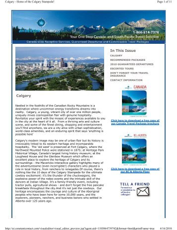 Calgary In This Issue - Anderson Vacations