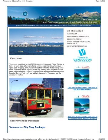 Vancouver - Home of the 2010 Olympics - Anderson Vacations