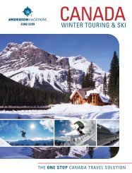THE ONE STOP CANADA TRAVEL SOLUTION - Anderson Vacations