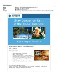 Stay Longer in the Cooks! - July, 2012 - Anderson Vacations