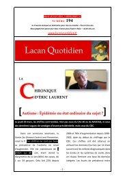 Autisme : Épidémie ou état ordinaire du sujet - Lacan Quotidien