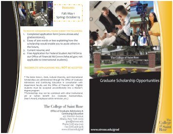 Graduate Scholarship Opportunities - The College of Saint Rose ...