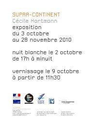 SUPRA-CONTINENT Cécile Hartmann exposition du 3 octobre au ...