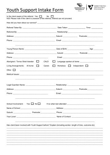 Client Intake Form - Mornington Peninsula Shire Youth Services