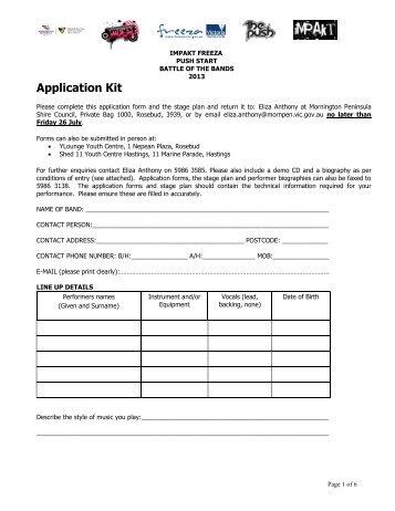 2013 Battle of the Bands Application Form - Mornington Peninsula ...