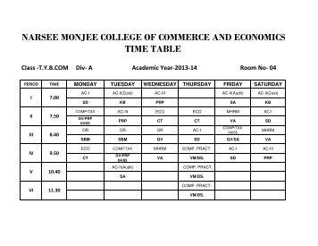 TIME TABLE 2013-14-GOMATHI IYER.xlsx - Narsee Monjee ...