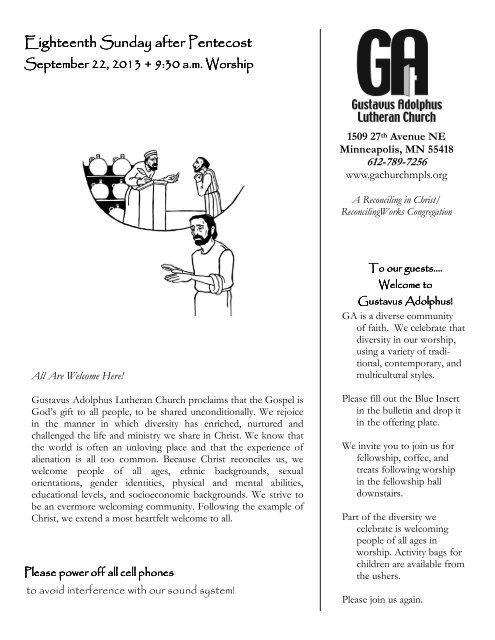 Worship Bulletin 09 22 13 (Pentecost 18) pub - Gustavus