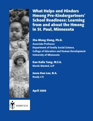 What Helps and Hinders Hmong Pre-Kindergartners ... - Data Center