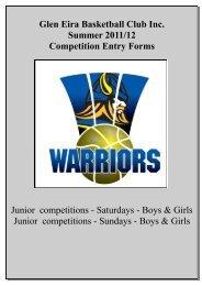 Glen Eira Basketball Club Inc. Summer 2011/12 Competition Entry ...