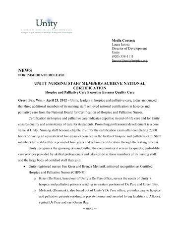 unity nursing staff members achieve national certification