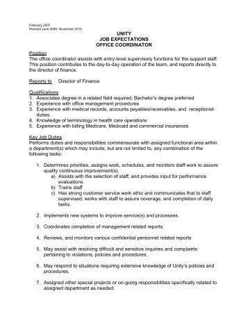 UNITY JOB EXPECTATIONS OFFICE COORDINATOR Position The .  Duties Of An Administrative Assistant
