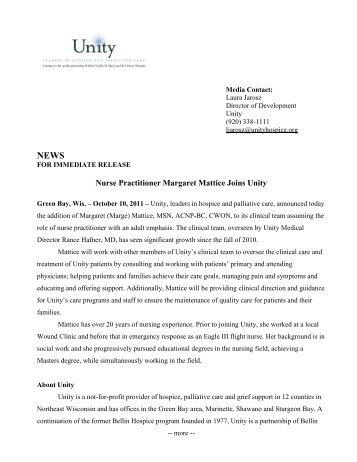 Nurse Practitioner Margaret Mattice Joins Unity