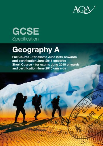 GCSE Geography (Specification A) Specification Specification ... - AQA