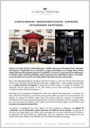 raffles paris et jaguar – land rover - Le Royal Monceau