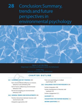 Summary, trends and future perspectives in environmental psychology