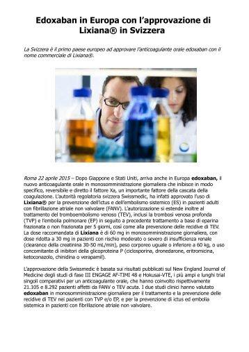 Edoxaban in Europa con l'approvazione di Lixiana® in Svizzera