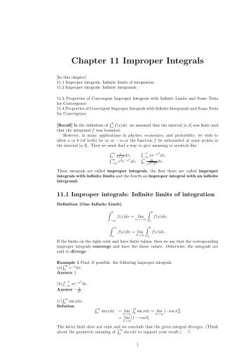 Chapter 11 Improper Integrals