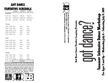 Workshop Brochure 2011 - Red River Dance Theatre Company